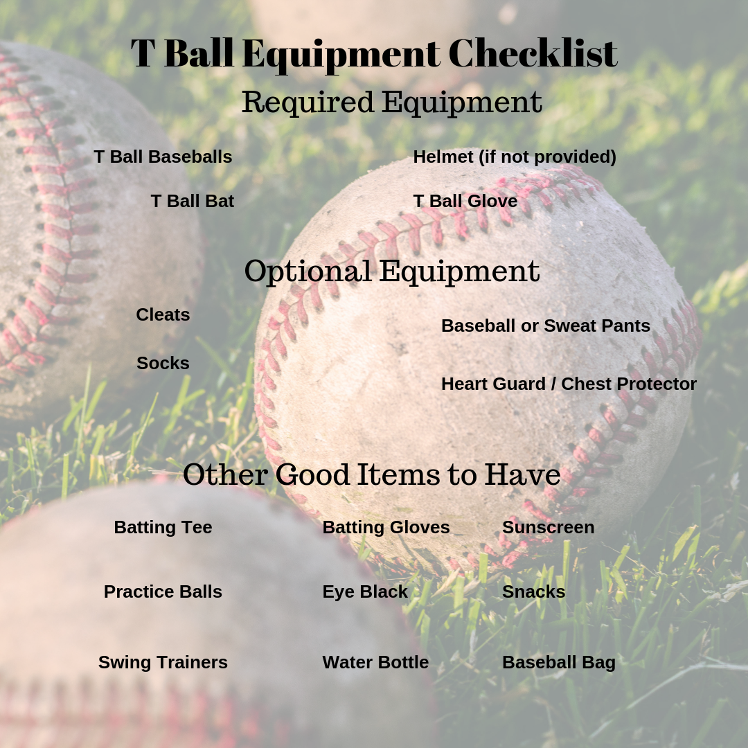 T Ball Equipment Checklist (summarizes all items mentioned in post)